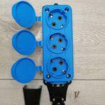 Розетка тройная переносная каучуковая (с) 16A/240В/IP44