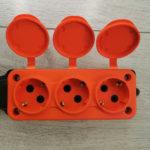 Розетка тройная переносная оранжевая 16A-IP44