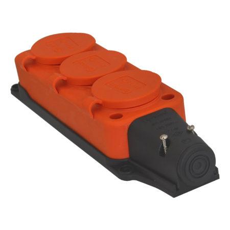 Розетка тройная переносная (о) 16A/240В/IP44 3101-308-2300