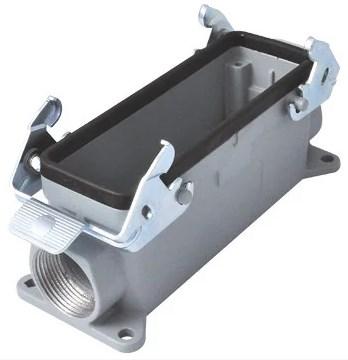 """Корпус промышленного многополюсного разъёма типа HDC 24P+E / 16A / 500V, накладной для контактов """"мама"""" ввод кабеля сбоку"""