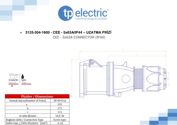 Розетка кабельная переносная 63A - IP 44